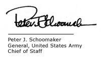 Peter J. Schoomaker, General, United States Army, Chief of Staff
