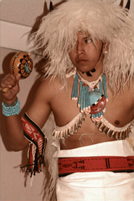 Buffalo dance performed by a member of of the Nawetsa Dancers