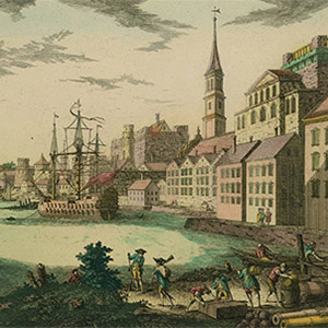 This engraving, created by French artist François Xavier Habermann, shows a view of the Boston Harbor, circa 1776.