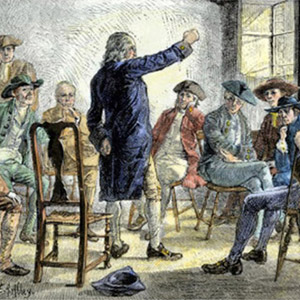 This print, created by E.A. Abbey, illustrates a reality of American politics in 1774-1775.  For many colonists, the revolutionary spirit was forged in dialogue with their friends and neighbors. Small gatherings afforded an opportunity to air concerns and share ideas for the best response to increasingly offensive British regulation.
