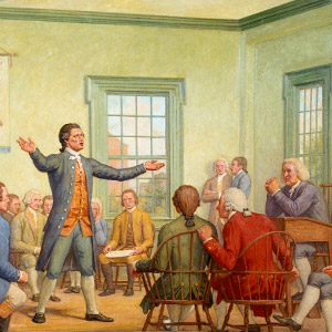 The First Continental Congress, 1774 is a mural at Great Experiment Hall, Cox Corridors, in the U.S. Capitol, created by Allyn Cox. The oil canvas depicts delegates from 13 colonies that met in Philadelphia to discuss responses to increased British oppression. (Left) A colonist is shown making a tax payment. Taxation without representation was a major complaint against the royal government. (Right) A soldier blocks the path of a woman and child, symbolizing the armed occupation that incensed many colonists.