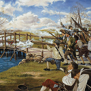 The Shot Heard 'Round the World, created by Domenick D'Andrea, depicts minutemen and militia in combat with British regulars at the Old North Bridge in Concord, Mass., April 19, 1775, in what proved to be the opening battle of the Revolutionary War.