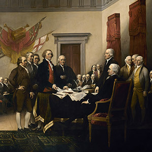 Declaration of Independence, painting created by artist John Trumbull in 1818, depicts the moment on June 28, 1776, when the first draft of the Declaration of Independence was presented to the Second Continental Congress. The document stated the principles for which the Revolutionary War was being fought, which remain fundamental to the nation. The Declaration was officially adopted, July 4, 1776 and later signed on Aug. 2, 1776.