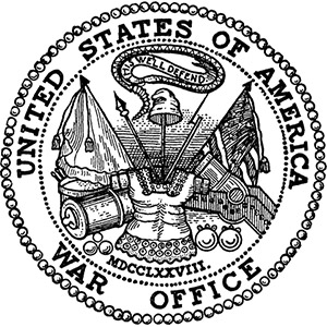 The former seal of the now-defunct U.S. Department of War. It is now used as the seal of the Department of the Army.