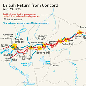 This is a map showing the route of the British army's 18-mile retreat from Concord to Charlestown in the Battles of Lexington and Concord on April 19, 1775. It shows the major points of conflict, as well as the route taken by British reinforcements.