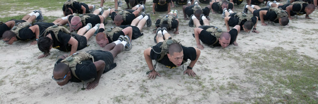 Doing basic training pushups