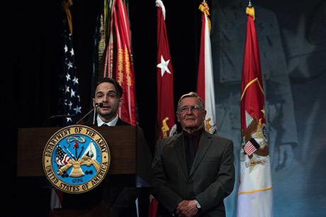 U.S. Army Sgt. Travis Atkins' son, Trevor Oliver and father Jake Atkins, speak during Atkins' posthumous induction into the Hall of Heroes in a ceremony hosted by Mr. David L. Norquist, performing the duties of the U.S. deputy secretary of defense, at the Pentagon, Washington, D.C., March 28, 2019. (DoD photo by U.S. Army Sgt. Amber I. Smith)