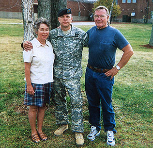 Then-Sgt. Travis Atkins' parents, Jack and Elaine, visit their son at Fort Drum, N.Y., in 2006. (Photo courtesy of the Atkins family)