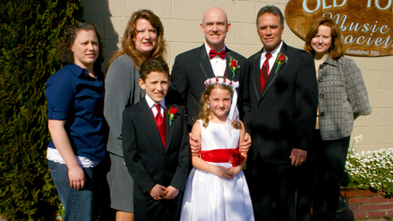 Staff Sgt. Ty Carter and his side of the family during his wedding.