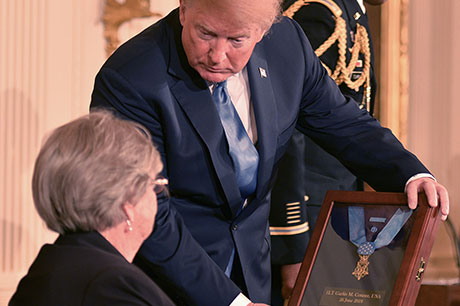 President Trump presents the Medal of Honor to Pauline Conner, the 89-year old widow of World War II veteran Garlin Conner at the White House in Washington, D.C., June 26, 2018. Conner earned the award for valorous acts on the morning of Jan. 24, 1945. U.S. Army photo by Joe Lacdan
