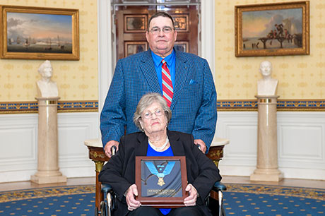 Pauline Lyda Wells Conner, the spouse of U.S. Army 1st Lt. Garlin M. Conner, and their son Paul Conner, at the White House in Washington, D.C., June 26, 2018. Conner was posthumously awarded the Medal of Honor for actions while serving as an intelligence officer during World War II, Jan. 24 1945. (U.S. Army photo by Spc. Anna Pol)