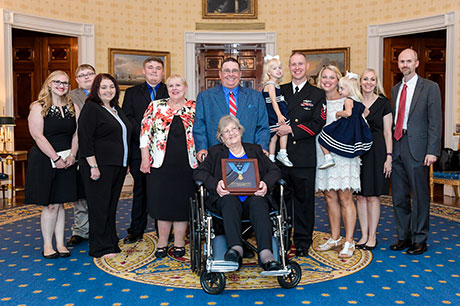 Pauline Lyda Wells Conner, the spouse of U.S. Army 1st Lt. Garlin M. Conner, and family members pose for a group photo at the White House in Washington, D.C., June 26, 2018. Conner was posthumously awarded the Medal of Honor for actions while serving as an intelligence officer during World War II, Jan. 24 1945. (U.S. Army photo by Spc. Anna Pol)