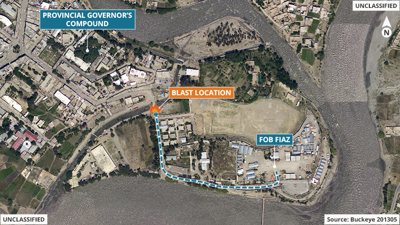A satellite image of Regional Command East, Asadabad District, Kunar Province, Afghanistan from August 2012. The graphic overlay depicts the blast location along the personal security detachment's route of travel from Forward Operating Base Fiaz, to the Kunar provincial governor's compound.