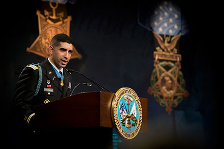Retired U.S. Army Capt. Florent Groberg delivers Hall of Heroes remarks during his induction ceremony Nov. 13, 2015, at the Pentagon, Arlington, Va. (U.S. Army photo by Mr. John G. Martinez)