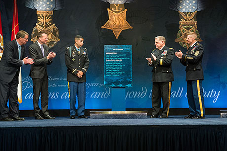 Defense Secretary Ash Carter, Acting Army Secretary Eric K. Fanning, Medal of Honor recipient retired U.S. Army Capt. Florent A. Groberg, Army Chief of Staff Gen. Mark A. Milley and Sgt. Maj. of the Army Daniel A. Dailey unveil a plaque bearing Groberg's name during his Hall of Heroes Induction Ceremony at the Pentagon, Nov. 13, 2015. (U.S. Army photo by Staff Sgt. Steve Cortez)