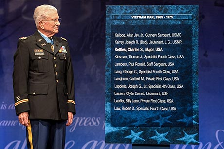 Retired Lt. Col. Charles Kettles is inducted to the Hall of Heroes at the Pentagon, in Arlington, Va., July 19, 2016, for actions during a battle near Duc Pho, South Vietnam, May 15, 1967.