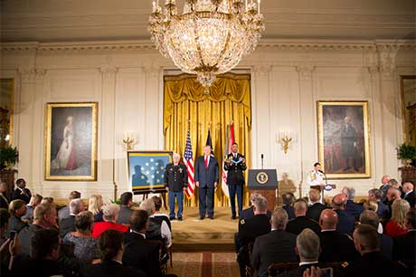 President Donald J. Trump hosts the Medal of Honor ceremony for former Spc. 5 James C. McCloughan at the White House in Washington, D.C., July 31, 2017. McCloughan was awarded the Medal of Honor for distinguished actions as a combat medic assigned to Company C, 3rd Battalion, 21st Infantry Regiment, 196th Infantry Brigade, Americal Division, during the Vietnam War near Don Que, Vietnam, from May 13-15, 1969. White House photo