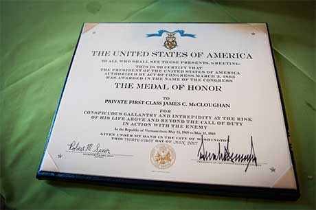 Medal of Honor citation awarded to then-Pfc. James C. McCloughan for conspicuous gallantry during the Vietnam War of, signed at the White House in Washington, D.C., July 31, 2017. U.S. Army photo by Eboni Everson-Myart