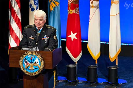 Former Spc. 5 James C. McCloughan gives his remarks during the Medal of Honor Induction Ceremony at the Pentagon, in Arlington, Va., Aug. 1, 2017. McCloughan was awarded the Medal of Honor for distinguished actions as a combat medic assigned to Company C, 3rd Battalion, 21st Infantry Regiment, 196th Infantry Brigade, Americal Division, during the Vietnam War near Don Que, Vietnam, from May 13 to 15, 1969. U.S. Army photo by Sgt. Alicia Brand