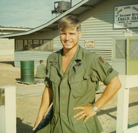 Then-Pfc. James McCloughan in front of the Vietnam Regional Exchange Snack Shop, 1969. (Photo courtesy of Spc. 5 James McCloughan)