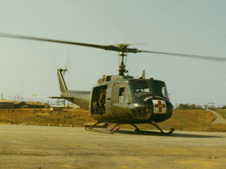 A medical evacuation helicopter near the 91st Evacuation Hospital in Vietnam, 1969. (Photo courtesy of James C. McCloughan)