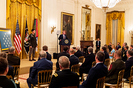 "The President of the United States, Donald J. Trump, hosts the Medal of Honor award ceremony in honor of U.S. Army Sgt. Maj. Thomas ""Patrick"" Payne at the White House, Washington, D.C., Sept. 11, 2020. Payne was awarded the Medal of Honor for his actions while serving as an assistant team leader deployed to Iraq as part of a Special Operations Joint Task Force in support of Operation Inherent Resolve on Oct. 22, 2015. (U.S. Army photo by Spc. Zachery Perkins)"