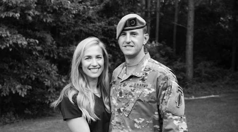 Sgt. Maj. Payne with his wife, Alison, shortly after her return from serving at St. Joseph's Hospital in Long Island, NY, where she helped care for patients during the COVID-19 outbreak between April and May 2020. (Photo courtesy of Sgt. Maj. Thomas P. Payne)