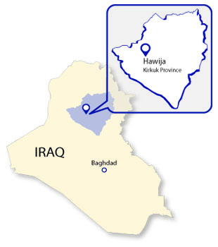 Map depicting the area of Operation Inherent Resolve in Kirkuk Province, October 22, 2015.