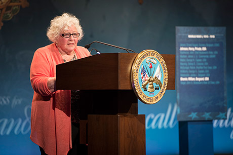 Elsie Shemin-Roth speaks at a ceremony for World War I heroes, Sgt. Henry Johnson and Sgt. William Shemin, induction into the Hall of Heroes at the Pentagon in Washington, D.C., June 3, 2015.  U.S. Army photo by Staff Sgt. Bernardo Fuller
