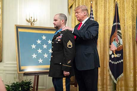 The Medal of Honor is presented to former U.S. Army Staff Sgt. Ronald J. Shurer II during a ceremony at the White House in Washington, D.C., Oct. 1, 2018. Shurer was awarded the Medal of Honor for actions while serving as a senior medical sergeant with the Special Forces Operational Detachment Alpha 3336, Special Operations Task-Force-33, in support of Operation Enduring Freedom in Afghanistan, April 6, 2008. (White House Photo by Shealah Craighead)