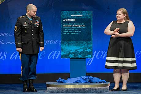 Staff Sgt. Ronald J. Shurer II is inducted into the Hall of Heroes during a ceremony at the Pentagon in Washington, D.C., Oct. 2, 2018.