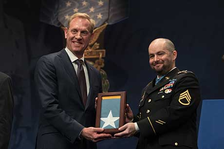 Deputy Defense Secretary Patrick M. Shanahan inducts Medal of Honor recipient, former Army Staff Sgt. Ronald J. Shurer II into the Hall of Heroes at the Pentagon, Washington, D.C., Oct. 2, 2018. DOD photo by Army Sgt. Amber I. Smith