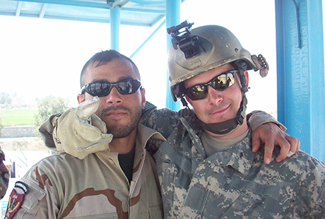 Staff Sgt. Ronald J. Shurer II (right), and an interpreter, conducting fast rope training in Jalalabad, Afghanistan, March 2008. Photo courtesy of Ronald J. Shurer II.
