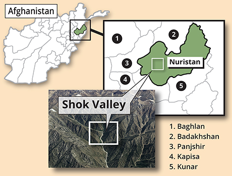 Map depicting the Operation Commando Wrath insertion point in Shok Valley, April 6, 2008.