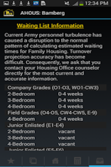 Advanced Search page - Army Housing Unaccompanied Housings Android application screenshot