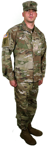 combat uniform side view