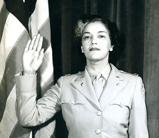 Harriett West Waddy was in the first class of WAAC Officer Candidate School at Fort Des Moines, Iowa. She served as the WAC Director's advisor on African-American women and was the first African-American women promoted to the rank of major. (Photo courtesy of U.S. Army Women's Museum)