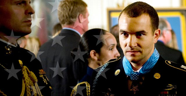 Salvatore A. Giunta wearing the Medal of Honor after the White House Ceremony