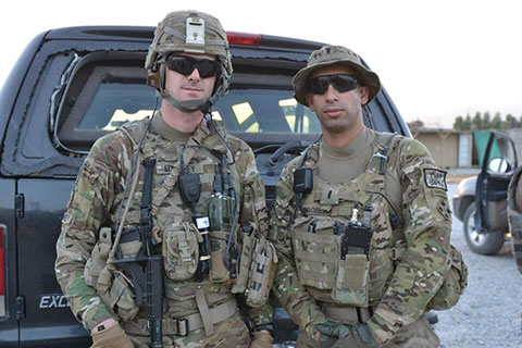 U.S. Army Sgt. Andrew Mahoney (left) of Laingsburg, Mich., with then-1st Lt. Florent Groberg serving on a personal security detail with the 4th Infantry Brigade Combat Team, 4th Infantry Division, during a deployment to Regional Command-East, Afghanistan. (Photo courtesy of Retired U.S. Army Capt. Florent Groberg)