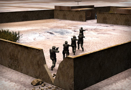 Five Rangers entering compound