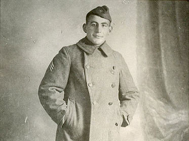 Portrait of Sgt. William Shemin in uniform overcoat. Photo courtesy of the Shemin family.