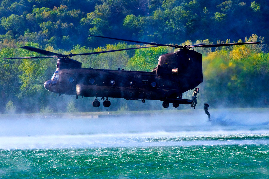 CH-47 Chinook helicopter during helo-cast event at Best Sapper Competition