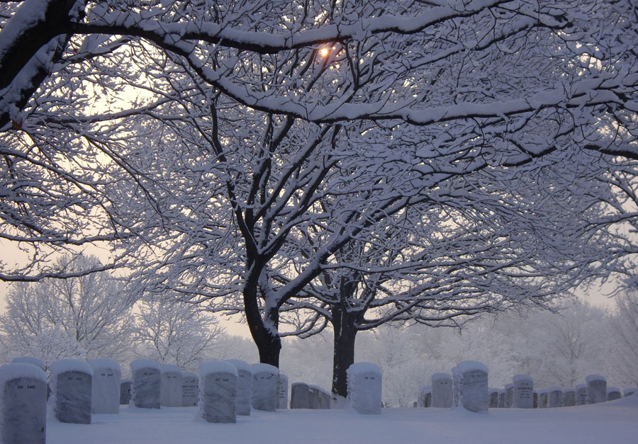 Arlington National Cemetery blanketed in snow