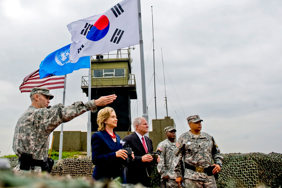 Secretary of State Hillary Clinton and Defense Secretary Robert M. Gates at DMZ overlooking North Korea