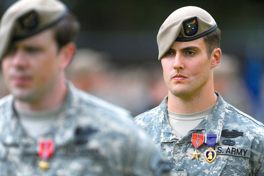 Staff Sergeant Austin McCall received Bronze Star Medal with V Device and Purple Heart