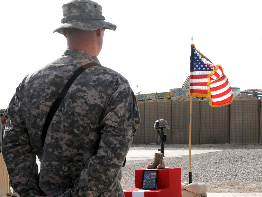 Memorial ceremony for Specialist Scott A. Andrews at Forward Operating Base Lagman, Afghanistan