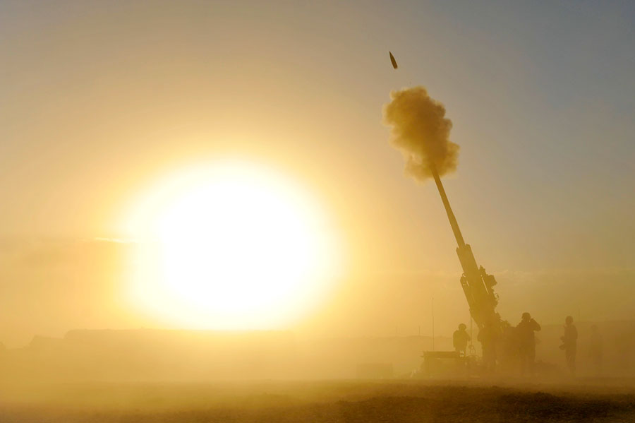 Firing 155mm Howitzer during a training mission