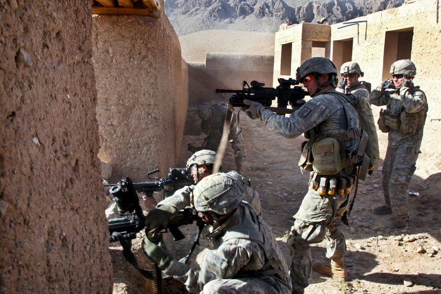 3rd Platoon, Alpha Company, 1st Battalion, 503rd Infantry Regiment, 173rd Airborne Brigade Combat Team, engage enemy combatants in Chak District, Wardak Province, Afghanistan