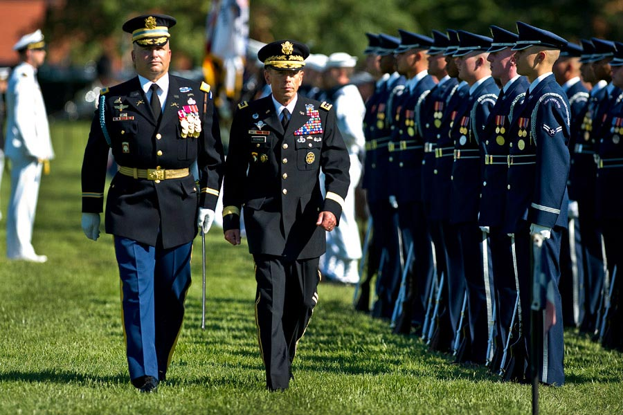 General David H. Petraeus reviews troops at his retirement ceremony and Armed Forces Farewell, Joint Base Myer-Henderson Hall, Virginia