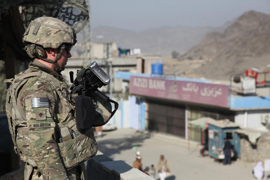 Specialist Jeremiah Holbrook provides security near Torkham Gate, Nangarhar province, Afghanistan